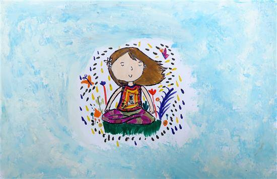 Painting  by Aanya Chand - Girl with peace & quiet of the outdoor