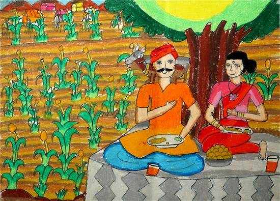 Painting  by Asmi Walavalkar - Farmer couple
