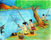 Painting  by Chinmay Mahanta - Fishing From Lake (By Fish-hook)