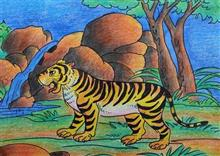 Painting  by Chinmay Mahanta - National Animal of India