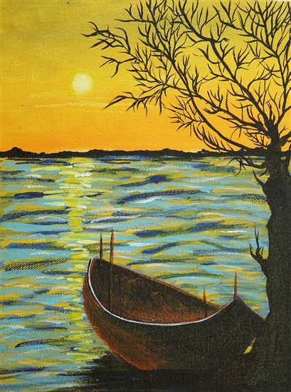 Painting  by Ganiya Gupta - The Serene Sunset