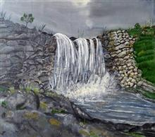 Waterfall, painting by Swati Gogate, Oil and Acrylic on Canvas, 23 x 20 inches