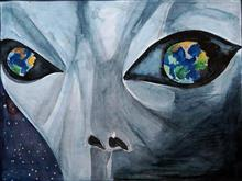 Painting  by K. Jashwanth - Aliens on the Earth
