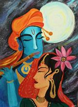 Painting by Dr Amaey Parekh - Krishna and Radha in the Universe