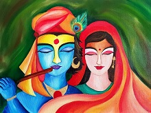 Painting by Dr Amaey Parekh - Krishna and Radha - an eternal love