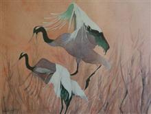 Cranes, painting by Vishnu Bhatwadekar