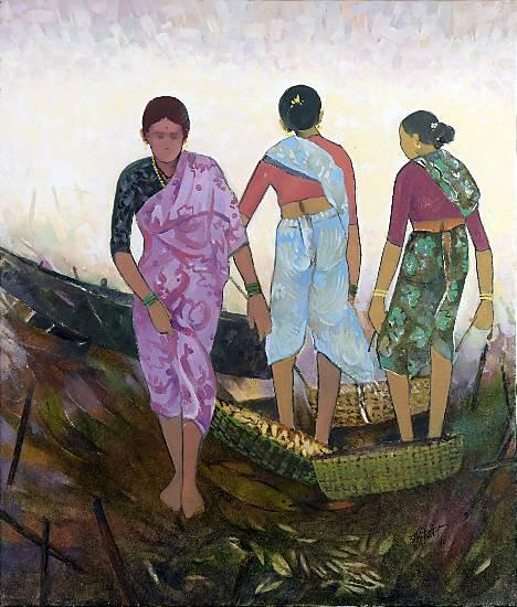 Fish Bath, painting by Shashikant Bane