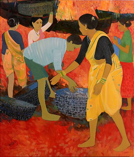 Sorting, Painting by Professional Artist Shashikant Bane