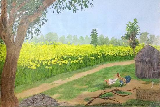 Countryside, Painting by Emerging Artist Sudha Srivastava