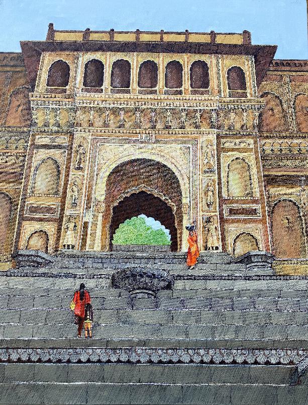 Maheshwar Ghat, Painting by Sandhya Ketkar