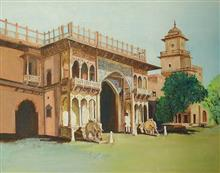 Jaipur palace entrance, Painting by Sandhya Ketkar