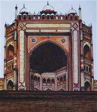 Buland Darwaza - Fatehpur Sikri, painting by Sandhya Ketkar, Ink & Watercolour on Paper, 18 x 17 inches