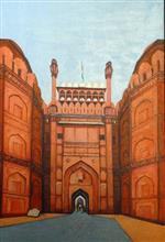 Red fort entrance, painting by Sandhya Ketkar, Ink & Acrylic on Canvas, 36 x 24 inches