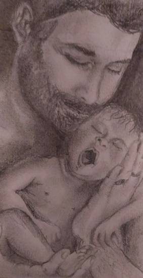 painting by Aiswarya CJ - Most safest place - Dad's hands.