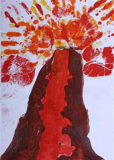 Volcano, painting by Ameya Sunand