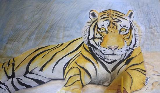 painting by Aniket Vibhute - Indian Tiger