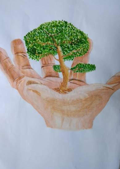 painting by Aniket Vibhute - Save Trees