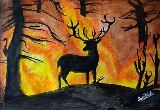 painting by Aniket Vibhute - Fire in the rainforest
