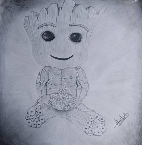 Painting  by Aniket Vibhute - A Groot