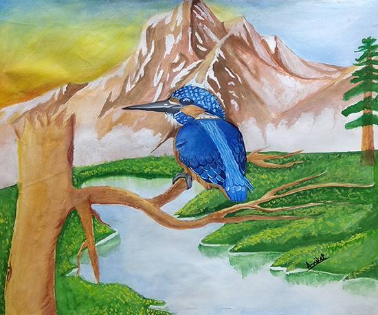 Painting  by Aniket Vibhute - Kingfisher