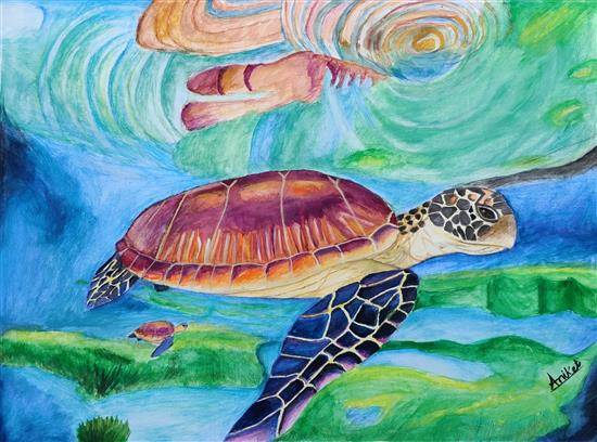 Painting  by Aniket Vibhute - Turtles in the ocean