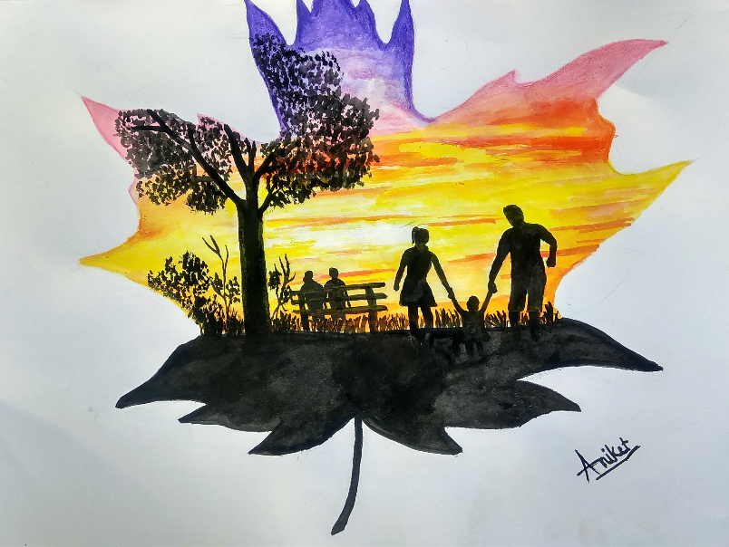 Painting  by Aniket Vibhute - Father and Mother Love