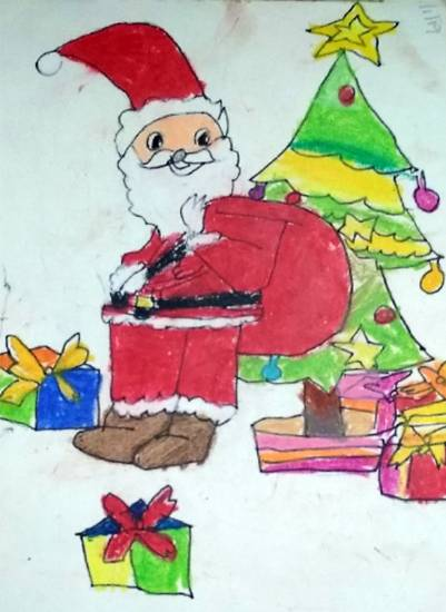 painting by Neel Kirtane - Santa Claus