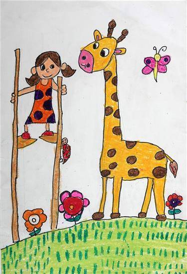 Painting  by Neel Kirtane - Giraffe