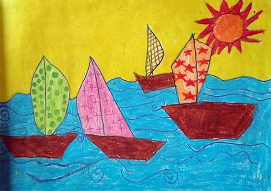 Painting  by Neel Kirtane - Boats