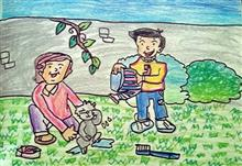 Painting  by Neel Kirtane - Children and Cat