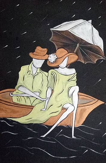 In a Boat, painting by Sonali Pawar