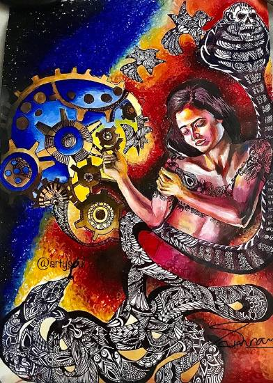 Painting  by Simran Dhawan - Set her free from mechanisms of life