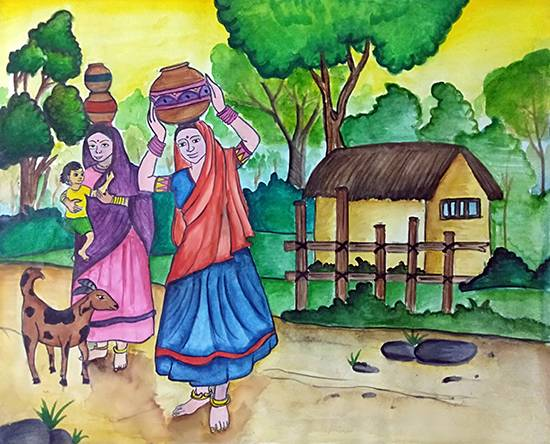 painting by Shreya Priyadarshi - Village scene 1