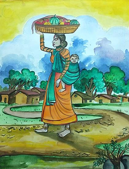 painting by Shreya Priyadarshi - Village scene