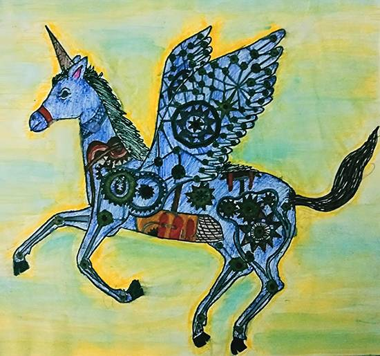 Mechanic horse, painting by Shreya Priyadarshi