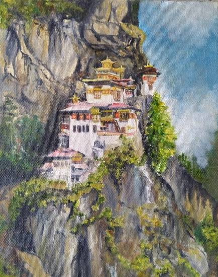 painting by Shraddha Virkar - The Sacred country - Bhutan