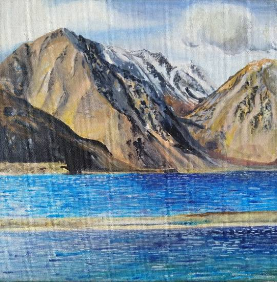 painting by Shraddha Virkar - The beauty of Blue Pangong lake painting