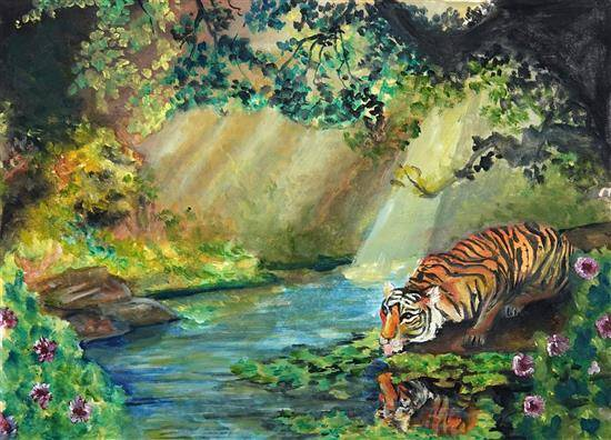 painting by Shraddha Virkar - Tiger : The master of a balanced ecosystem