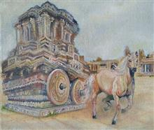 Painting  by Shraddha Virkar - The horse chariot of Hampi - group of monument