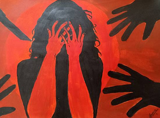 painting by Apoorva Dwivedi - Once a women feels safe, humanity is saved