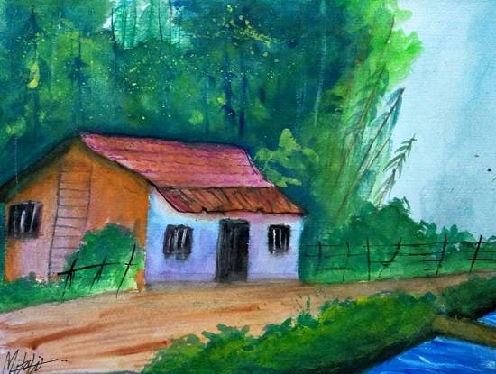 painting by Mitali Pankaj Kapure - Village House