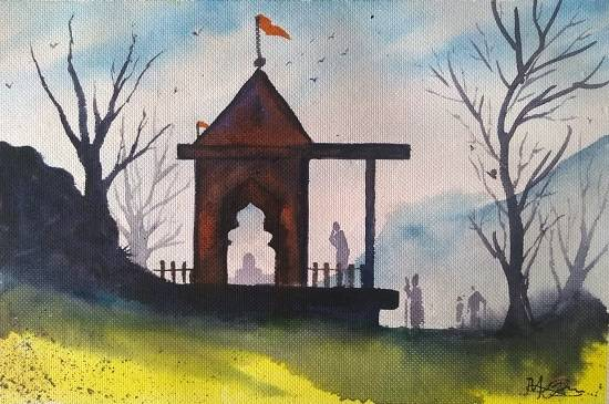 Temple on the Hills, painting by Mitali Pankaj Kapure