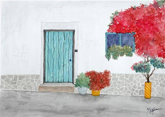 Painting  by Mitali Pankaj Kapure - The street style old door in Italy