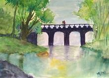 Painting  by Mitali Pankaj Kapure - A bridge near a lake