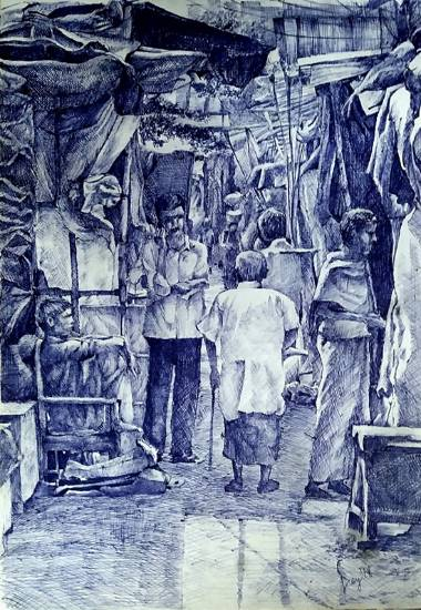 Painting  by Aritra Dey - Slum