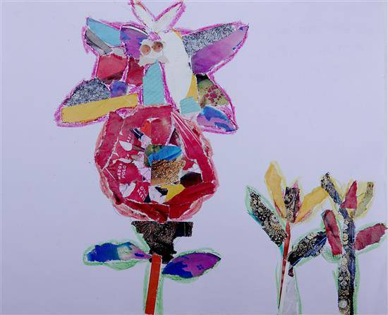 Painting  by Nisha Santosh Bujad - Butterfly over flower