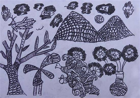 Warli art, painting by Manohar Nilesh Merya