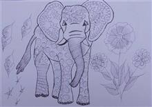 Painting  by Mohini Ramu Raut - An Elephant