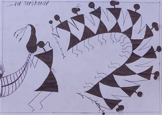 Painting  by Dainat Suresh Gond - Warli art