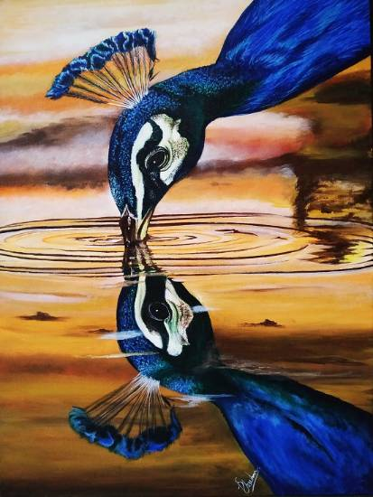 painting by Deeksha Chauhan - The Reflection